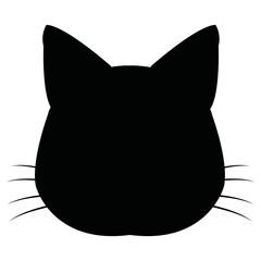 silhuette cat feline head whiskers image vector illustration