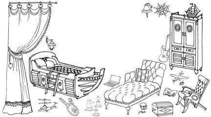 sketch of furniture for a child's room in a nautical theme, vector doodle il blue lines on beige background, for interior designer furniture boy sofa toys 90 50