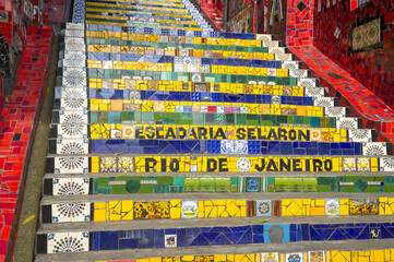 Bright view of the popular Selaron Steps tourist attraction in downtown Rio de Janeiro, Brazil