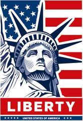 Statue of Liberty, USA flag, NYC,