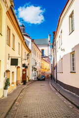 Street and Dominican Church of Holy spirit in Vilnius