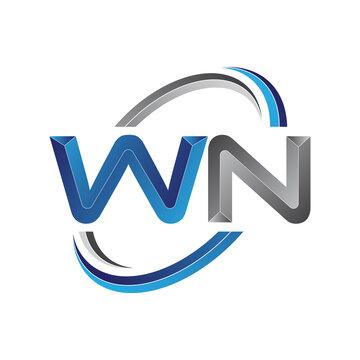 Simple initial letter logo modern swoosh WN