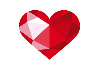 Red diamond heart icon. Red heart vector. Polygonal red heart