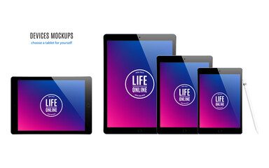 tablet mockup set with multicolor screen isolated on white background. stock vector illustration eps10