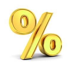 Gold percent or % sign isolated over white background with shadow . 3D rendering.