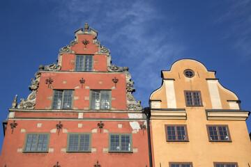 Colorful Building Facade, Stortorget Square, Gamla Stan - City Centre, Stockholm; Sweden