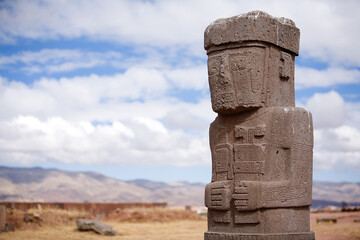 Statue on Kalasasaya temple in Tiwanaku, Bolivia