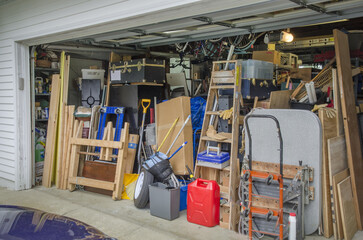 A garage full of storage items leaves no room for automobiles in Leonardtown, Maryland. Wall mural