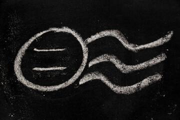Chalk drawing as blank stamp postmark on blackboard background
