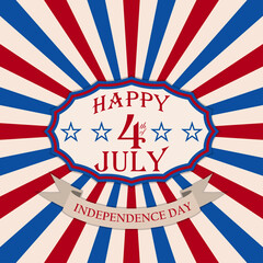 Vector Happy 4th of July background. Independence Day festive design.