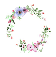 Wreath of watercolor flowers