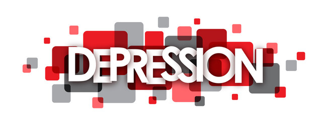 DEPRESSION grey and red vector letters icon