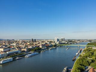 view to skyline of Bratislava with river Danube