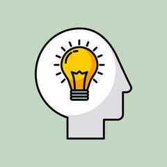 lightbulb head silhouette mind idea concept image vector illustration design