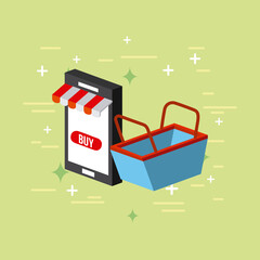 cellphone and basket shop image flat vector icon illustration design graphic