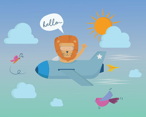 plane with lion pilot in the sky cartoon vector illustration