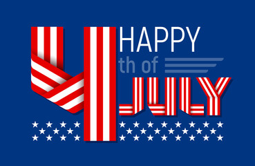 Happy 4th of July greeting card for USA Independence Day. Vector illustration.