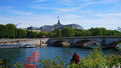 Photo of famous Grande Palais on a spring morning, Paris, France