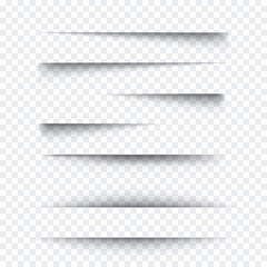Transparent realistic paper shadow effect set. Web banner. Element for advertising and promotional message isolated on background. Vector illustration for your design, template and site.
