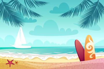 Summer seascape. outdoor. vector illustration