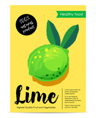 Modern healthy food poster with lime.