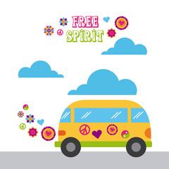 bus hippie scenery cartoon vector illustration design icon graphic