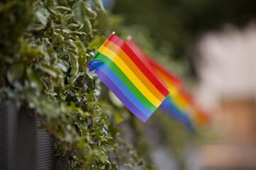 Reihe von kleinen Regenbogenfahnen