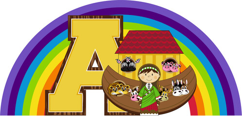 A is for Ark - Noah Biblical Illustration