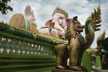 Ganesh statue pink color thai called Phra Pikanet at outdoor for people visit and respect praying at  Lord Ganesha Park
