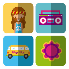 hippie scenery cartoon shading icon vector illustration design graphic