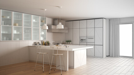 Unfinished project of modern kitchen with big window, sketch abstract interior design
