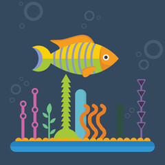 fish character cartoon illustration vector with coral decoration