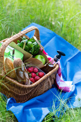 Aluminium Prints Picnic Summer basket for picnic with wine, bread, fruits and snacks