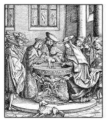 Royal baptism of Maximilian I, future Holy Roman emperor,  XV century engraving