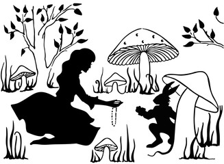 Alice in Wonderland. Alice and the White Rabbit. Drawing ink. Vector, Isolate.