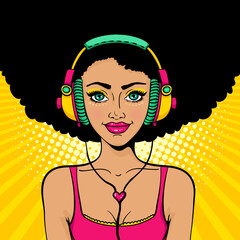 Pop art music. Young sexy girl with afro hairstyle in colorful headphones listening to the music with smile. Vector bright background in pop art retro comic style. Party invitation poster.