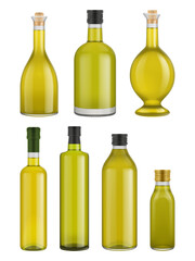 Olive oil bottle glass isolated on white background. Vector packaging mockup with realistic bottle