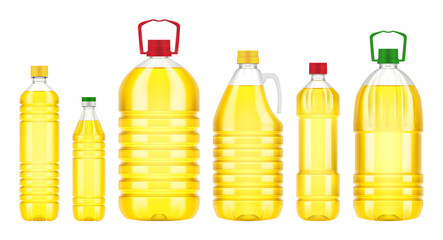 Vegetable oil plastic bottle isolated on white background. Vector packaging mockup with realistic bottle