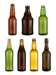 Beer bottle glass isolated on white background. Vector packaging mockup with realistic bottle