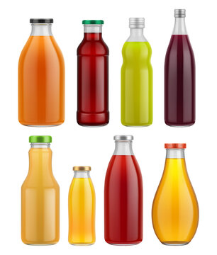 Juice bottle glass isolated on white background. Vector packaging mockup with realistic glass bottle