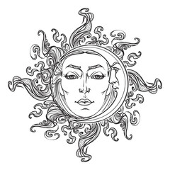 Fairytale style hand drawn sun and crescent moon with a human faces. Black and white graphic style decorative element for tattoo textile prints or greeting card design. EPS10 vector illustration.
