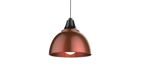 Isolated dark red shiny color pendant lamp 3d illustration concept