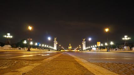 Printed kitchen splashbacks Delhi Night shot from iconic illuminated Alexander III bridge, Paris, France