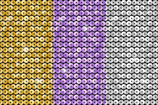 Set of seamless patterns with color sequins