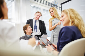 Business meeting a discussion in a team