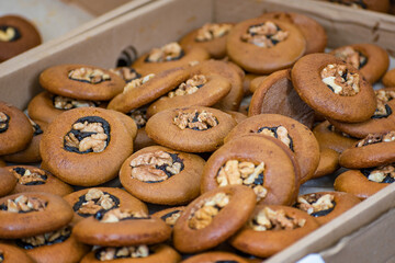 Homemade cakes with nuts and jam - Folk art