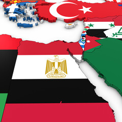 3D Map of North Africa and the Middle East with National Flags on White Background 3D Illustration