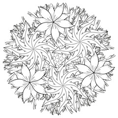 Black and white floral pattern for coloring book in doodle style. Vector elements for design. Good for art therapy, zentangle-style meditation and design of wrapping and textile.