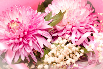 Of a beautiful summer bouquet of chrysanthemums