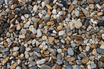 Natural color pebble stone background, outdoor day light